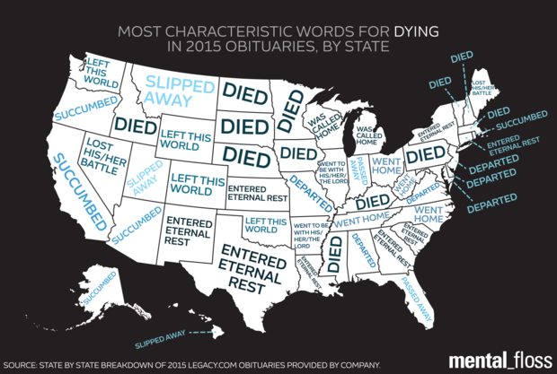 Most Distinctive Obituary Euphemism for 'Died' in Each State